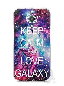 Capa Moto G2 Keep Calm and Love Galaxy