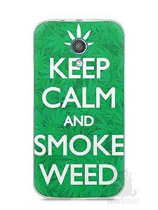 Capa Moto G2 Keep Calm and Smoke Weed