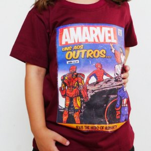 Camiseta Infantil - Amarvel Bordô