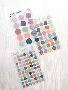 Cartela de Adesivos Dots Colorido