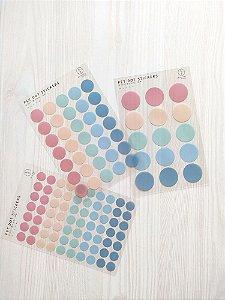 Cartela de Adesivos Dots Azul e Rosa