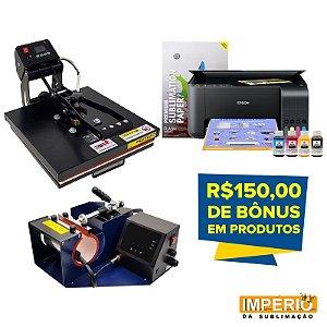 Pensa Plana 38x38 + Prensa de caneca mundi + Impressora Epson L3150