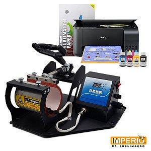Kit Prensa de Caneca Térmica Cilíndrica + Impressora Epson 3150