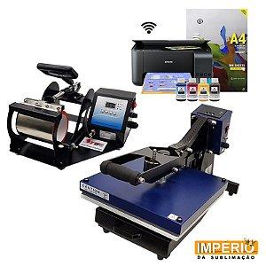 Kit Prensa Plana 38x38 com Gaveta  Mundi + Prensa de Caneca Deko Premium + Impressora Epson L3150