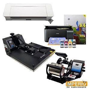 Kit Silhouette cameo 4 + Prensa plana 38x38 deko + Prensa de caneca deko premium = Impressora epson L 3150