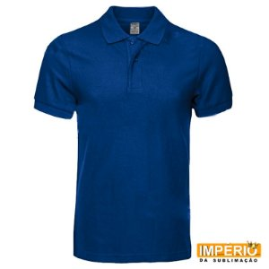 Camiseta polo azul royal 100% poliéster do p ao gg