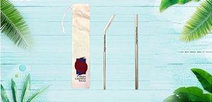 80 Canudos Inox  6,00mm reto personalizado + 80 ESCOVAS + 80 Bag tecido algodão cru personalizada com duas cores