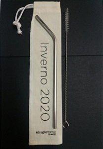 kit 100 canudos 6,00mm reto personalizado + 100 escovas de higienização + 100 bags personalizadas