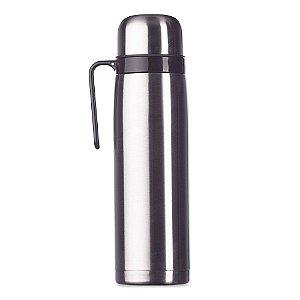 Garrafa Térmica 1 Litro em inox com alça plástica preta