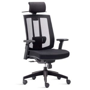 Cadeira Presidente com encosto de cabeça e cabideiro