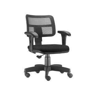 Cadeira secretária com encosto e braços reguláveis