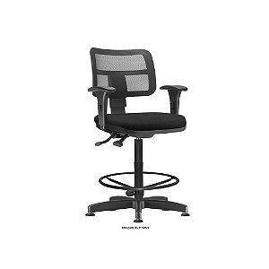 Cadeira caixa encosto em tela e apoio para os pés
