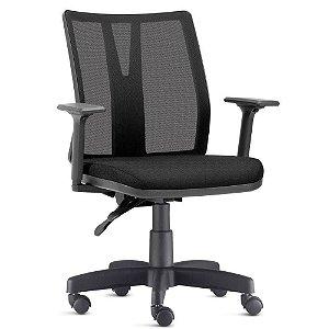 Cadeira Diretor Addit encosto regulável em tela, tecido em crepe preto