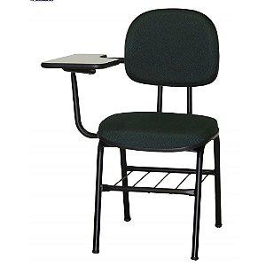 Cadeira Universitária com prancheta lateral em tecido preto