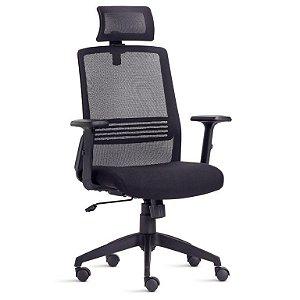 Cadeira Presidente com encosto em tela e apoio de cabeça -Joy