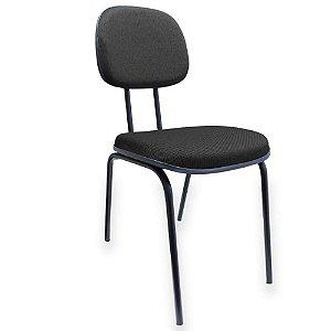 Cadeira de escritorio fixa 04 pés em tecido preto