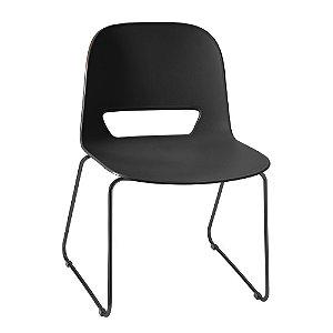 Cadeira Fixa Concha Unica Kind Em Polipropileno Preta