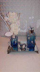 Kit banheiro/ lavabo vidro azul