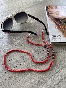 Corrente Salva Óculos Cristal Vermelha
