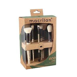 Kit Com 7 Pinceis para Maquiagem - Eco Linha Sustentável Macrilan