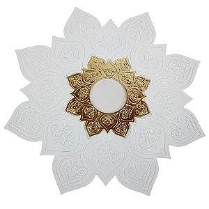 Prato Flowers - Branco e Dourado