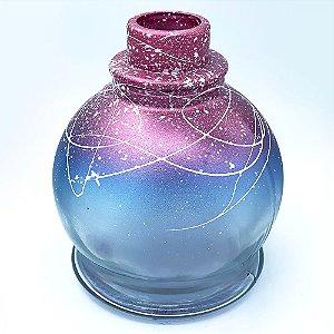 Vaso Pequeno Anubis Azul com Rosa e Branco