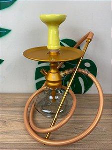 Narguile Completo Anubis - Transparente/Dourado Velvet/Amarelo