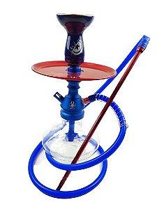 Narguile Completo Anubis - Azul Velvet/Vermelho + Rosh Bking Capitão América