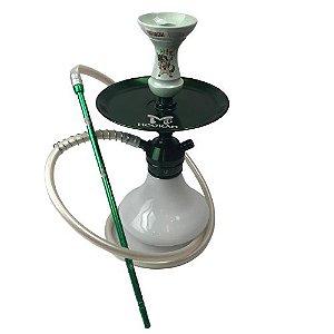Narguile Completo TRITON - Branco/Verde + Rosh Hit Verde Claro
