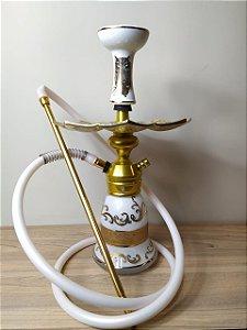 Narguile Completo Especial TRITON - Branco/Dourado