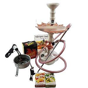 Kit Narguile Completo Amazon Hookah - Transparente/Marmorizado Rose/Branco + Brinde 2 Essencias