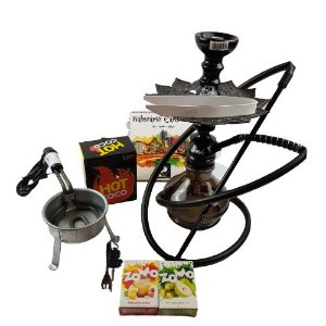 Kit Narguile Completo Amazon Hookah Kombat - Preto + Brinde 2 Essencias