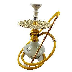 Narguile Completo Amazon Lord - Branco/Dourado/Branco