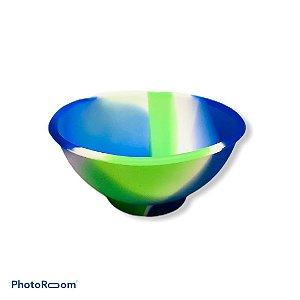Cuia de Silicone Média - Branco/Azul/Verde Clara