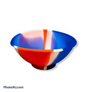 Cuia de Silicone Média - Branco/Vermelho/Azul