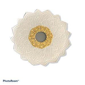 Prato Flowers Malik Hookah - Branco e Dourado