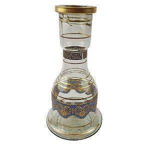 Vaso Grande - Transparente/Azul e Dourado