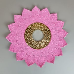 Prato Flowers - Rosa e Dourado