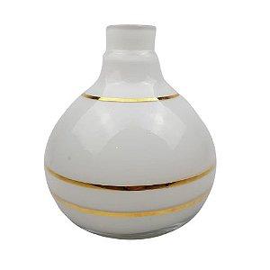 Vaso Bolinha Especial - Branco e Dourado