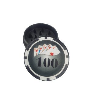Dichavador Metálico 2 Partes Poker - Preto