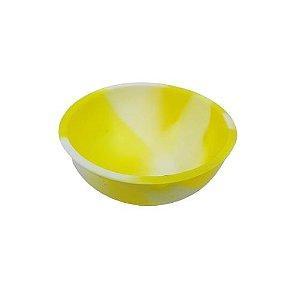 Cuia de Silicone Media - Amarelo e Branco