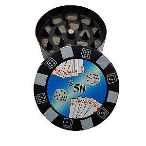 Dichavador Metalico 3 Partes Poker - Preto