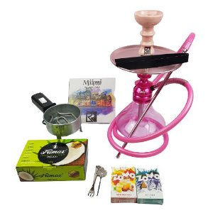 Kit Narguile Completo Amazon Kombat - Rosa + 2 Essencias Brinde