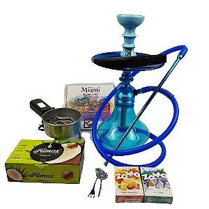 Kit Narguile Completo Amazon Kombat - Azul + 2 Essencias Brinde