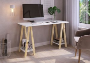 Escrivaninha Cavalete Studio 136cm Branco/Madeira Pinus Natural Artesano