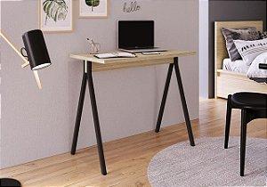 Escrivaninha Slim 90cm Carvalho Treviso/Preto Industrial Artesano