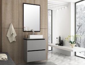 Conjunto de Banheiro Gabinete c/ Espelho Urban 60 Argento/Preto - Bosi