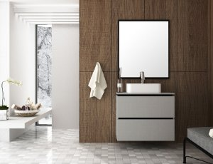 Conjunto de Banheiro Gabinete c/ Espelho Urban 80 Argento/Preto - Bosi