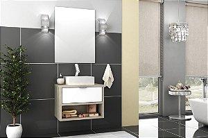 Conjunto de Banheiro Gabinete c/ Espelho Malta 60cm Barrique/Branco Brilho - Bosi