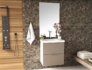 Conjunto de Banheiro Gabinete c/ Espelho Pietra 60cm Branco/Gianduia Brilho - Bosi